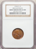 Errors, 1954-S 1C Lincoln Cent -- Broadstruck -- MS65 Brown NGC.. From The Don Bonse...