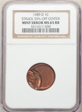 1989-D 1C Lincoln Cent -- Struck 55% Off Center -- MS65 Red and Brown NGC. From The Don Bonser Error Coin