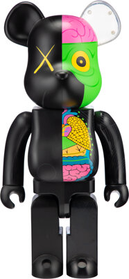 KAWS X BE@RBRICK Dissected Companion 1000% (Black), 2010 Painted cast vinyl 28 x 13-1/4 x 9-1/2 i