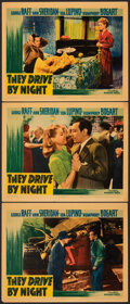 """Movie Posters:Drama, They Drive by Night (Warner Bros., 1940). Fine+. Linen Finish Lobby Cards (3) (11"""" X 14""""). Drama.. ... (Total: 3 Items)"""