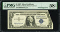 Error Notes:Foldovers, Printed Fold Error Fr. 1619 $1 1957 Silver Certificate. PMG Choice About Unc 58 EPQ.. ...