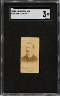 1888 E223 G&B Chewing Gum John Clarkson SGC VG 3 - Only Two Graded Examples