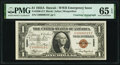 Small Size:World War II Emergency Notes, H(enry) Morgenthau Jr. Courtesy Autograph Low Serial 00000015 Fr. 2300 $1 1935A Hawaii Silver Certificate. PMG Gem Uncirculate...