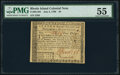 Colonial Notes:Rhode Island, Fully Issued Rhode Island July 2, 1780 $4 PMG About Uncirculated 55.. ...