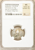 Ancients: PARTHIAN KINGDOM. Sinatruces (ca. 93-69 BC). AR drachm (19mm, 4.19 gm, 11h). NGC MS 5/5 - 5/5
