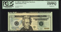 Error Notes:Miscellaneous Errors, Cutting Error Fr. 2095-G* $20 2009 Federal Reserve Star Note. PCGS Choice About New 55PPQ.. ...