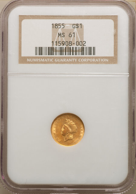 1855 G$1 Type Two, MS 61 NGC