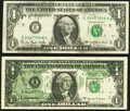 Error Notes:Error Group Lots, Solvent Smear on Face Error Fr. 1909-E $1 1977 Federal Reserve Note. Very Fine-Extremely Fine;. Partial Back to Face Offse... (Total: 2 notes)