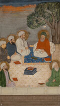 Works on Paper, An Indian Miniature Depicting Madrasa. 10-7/8 x 8-3/8 inches (27.6 x 21.3 cm). ...
