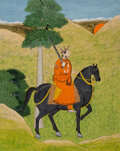 Works on Paper, A Miniature Indian Opaque Watercolor and Ink on Paper Equestrian Portrait, 19th century. 12-1/4 x 10-1/4 inches (31 x 26 cm)...