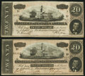 Confederate Notes:1864 Issues, T67 $20 1864 Two Examples Choice About Uncirculated or Better.. ... (Total: 2 notes)