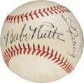 Baseball Collectibles:Balls, Circa 1934 Babe Ruth & Lou Gehrig Dual-Signed Baseball PSA/DNA NM-MT+ 8.5--Gifted to Priest at St. Mary's Industrial School fo...