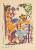 Prints & Multiples, Pablo Picasso (Spanish, 1881-1973). Faune et Marin, 1956. Lithograph in colors on wove paper. 6-1/2 x 4-1/2 inches (16.5...