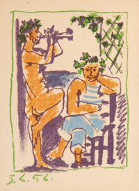 Pablo Picasso (Spanish, 1881-1973) Faune et Marin, 1956 Lithograph in colors on wove paper 6-1/2