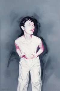 He Sen (Chinese, b. 1968) Woman Covering her Breasts, 2000 Acrylic on Canvas 58-1/2 x 39 inches (148.6 x 99.1 cm) Si