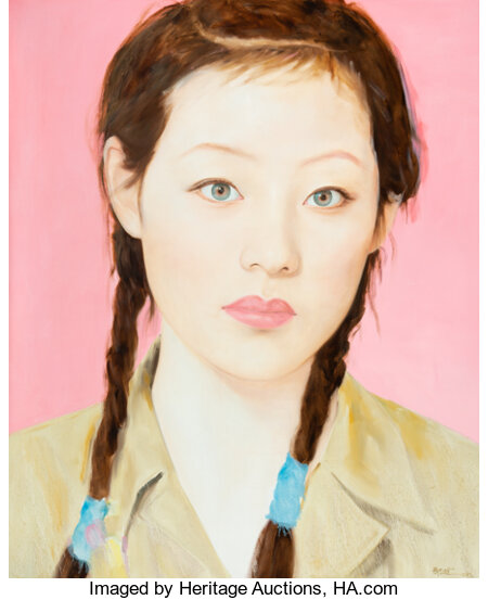 Qi Zhilong (Chinese, b. 1962) Female Student, 2009 Oil on canvas 86-1/2 x 71 inches (219.7 x 180.3 cm) Signed and da...