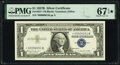 Small Size:Silver Certificates, Low Serial Number 6051 Fr. 1621* $1 1957B Silver Certificate Star. PMG Superb Gem Unc 67 EPQ*.. ...