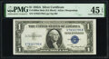 Small Size:Silver Certificates, Fr. 1608 $1 1935A Mule Silver Certificate. X-A Block. PMG Choice Extremely Fine 45 EPQ.. ...