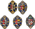 """Political:Presidential Relics, [George Washington]: Rare Replica Set of Five """"Marital Alliance"""" Coat-of-Arms Stained Glass Panels. ... (Total: 5 Items)"""