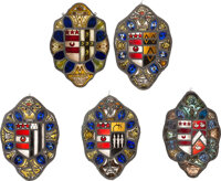"[George Washington]: Rare Replica Set of Five ""Marital Alliance"" Coat-of-Arms Stained Glass Panels"