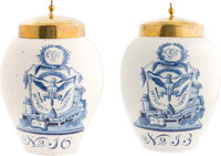 [Franklin D. Roosevelt]: Rare Pair of Delft Jars Gifted by Secretary of the Treasury Henry Morgenthau.... (Total: 2)
