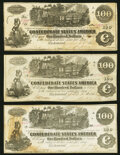 Confederate Notes:1862 Issues, T39 $100 1862 PF-4 Cr. 293 Very Fine;. T39 $100 1862 PF-5 Cr. 291 Extremely Fine;. T39 $100 1862 PF-5 Cr. 292 About Un... (Total: 3 notes)