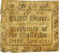 Colonial Notes:Massachusetts, Province of the Massachusetts June 1722 Two Pence Square Fr. MA-72. PCGS Very Fine 25.. ...