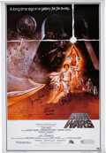 Movie/TV Memorabilia:Autographs and Signed Items, Star Wars Cast Signed Movie Poster....