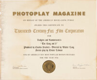 Photoplay Certificate Awarded to 20th Century Fox for The King and I.<