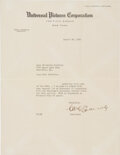 Movie/TV Memorabilia:Autographs and Signed Items, Carl Laemmle Sr. Typed Letter Signed On Personal Universal Pictures Letterhead....