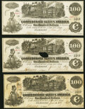 Confederate Notes:1862 Issues, T39 $100 1862 PF-4 Cr. 293 (3) Crisp Uncirculated; Very Fine; Fine-Very Fine.. ... (Total: 3 notes)