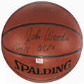Basketball Collectibles:Balls, John Wooden Signed Basketball - The Johnny Mack Collection....