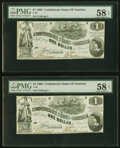 Confederate Notes:1862 Issues, T44 $1 1862 PF-3 Cr. 341 Two Consecutive Examples PMG Choice About Unc 58 EPQ.. ... (Total: 2 notes)