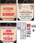 Political:Small Paper (1896-present), John F. Kennedy: Campaign Bags, Handouts and Flasher Button....