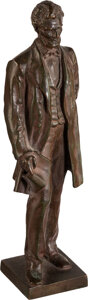 Political:3D & Other Display (pre-1896), Abraham Lincoln: Bronze Desk Ornament Statuette After George Bissell....