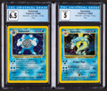 Memorabilia:Trading Cards, Pokémon Gyarados #6 and Poliwrath #13 Unlimited Base Set Rare Hologram Trading Cards (Wizards of the Coast, 1999) CGC Graded...