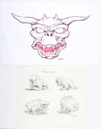 Thom Enriquez Ghostbusters Terror Dogs Concept Illustrations Original Art Group of 2 (Columbia, 1983)