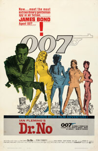"Dr. No (United Artists, 1962). Fine+ on Linen. One Sheet (27"" X 41.5"") Yellow Smoke Style, Mitchell Hooks Artw..."
