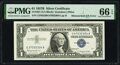 Error Notes:Mismatched Serial Numbers, Mismatched Serial Numbers Error Fr. 1621 $1 1957B Silver Certificate. PMG Gem Uncirculated 66 EPQ.. ...