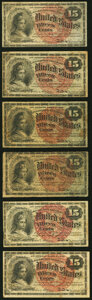 A Half Dozen 15¢ Fourth Issue Fractional Notes Good or Better