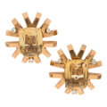 Estate Jewelry:Earrings, Retro Citrine, Diamond, Rose Gold Earrings, Belgian. ...