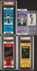 Football Collectibles:Tickets, 2002-07 Super Bowl Full Tickets....