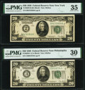 Small Size:Federal Reserve Notes, Fr. 2050-B; C $20 1928 Federal Reserve Notes. PMG Graded Choice Very Fine 35; Very Fine 30.. ... (Total: 2 notes)
