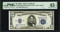 Small Size:Silver Certificates, Fr. 1653 $5 1934C Wide Face Mule Silver Certificate. Back Plate 629 N-A Block. PMG Choice Extremely Fine 45 EPQ.. ...