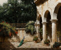 Paintings, George Hallmark (American, b. 1949). El Patio, 2002. Oil on canvas. 20-1/8 x 24-1/8 inches (51.1 x 61.3 cm). Signed lowe...