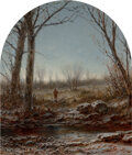 Paintings, George Henry Boughton (American, 1833-1905). Frosty Morning. Oil on canvas. 14-1/4 x 12-1/4 inches (36.2 x 31.1 cm). Ini...