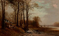 Paintings, David Johnson (American, 1827-1908). Near McComb's Dam, Harlem, New York, 1872. Oil on canvas. 7 x 11-3/4 inches (17.8 x...
