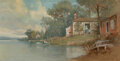 Paintings, Francis Augustus Silva (American, 1835-1886). Lakeside Cottage. Gouache and watercolor on paper. 6-7/8 x 13-1/2 inches (...