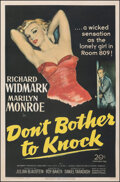 """Movie Posters:Film Noir, Don't Bother to Knock (20th Century Fox, 1952). Fine on Linen. One Sheet (27"""" X 41""""). Film Noir.. ..."""