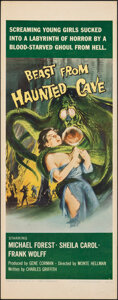 """Movie Posters:Horror, Beast from Haunted Cave (Filmgroup, 1959). Folded, Very Fine-. Insert (14"""" X 36""""). Horror.. ..."""